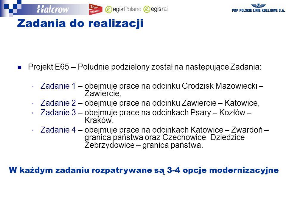 Projekt E65 – Południe podzielony został na następujące Zadania: Zadanie 1 – obejmuje prace na odcinku Grodzisk Mazowiecki – Zawiercie, Zadanie 2 – obejmuje prace na odcinku Zawiercie – Katowice, Zadanie 3 – obejmuje prace na odcinkach Psary – Kozłów – Kraków, Zadanie 4 – obejmuje prace na odcinkach Katowice – Zwardoń – granica państwa oraz Czechowice–Dziedzice – Zebrzydowice – granica państwa.