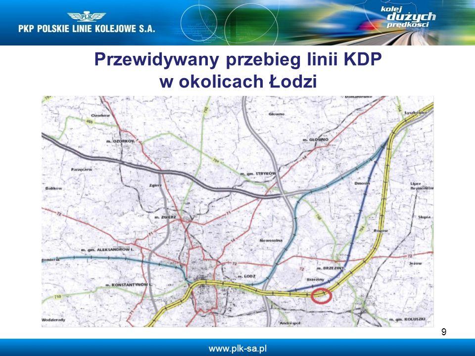 www.plk-sa.pl Przewidywany przebieg linii KDP w okolicach Łodzi 9