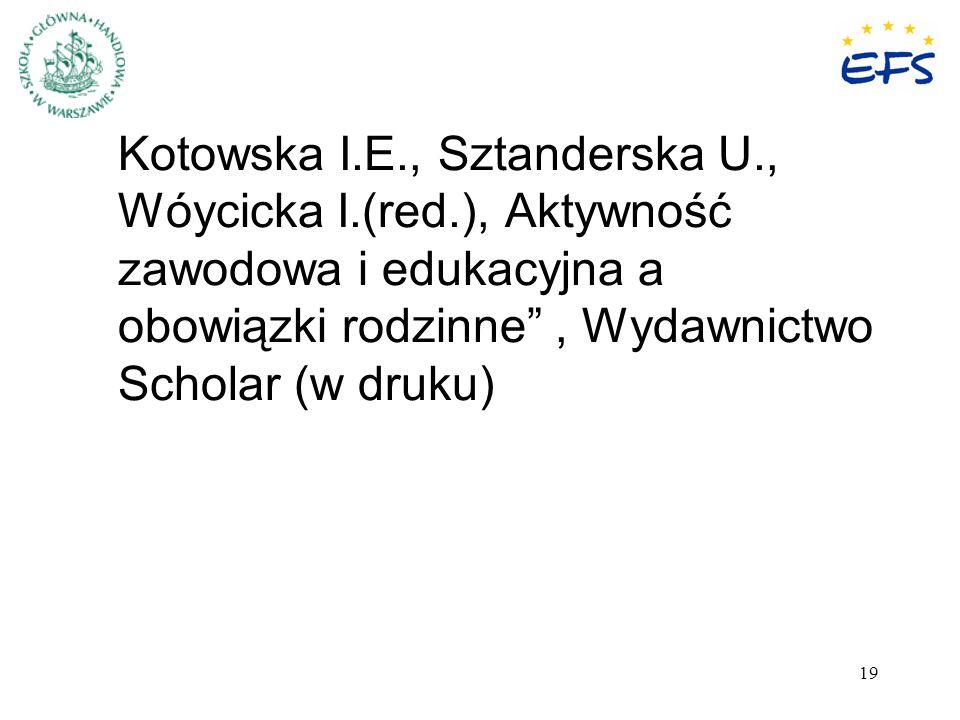 19 Kotowska I.E., Sztanderska U., Wóycicka I.(red.), Aktywność zawodowa i edukacyjna a obowiązki rodzinne, Wydawnictwo Scholar (w druku)