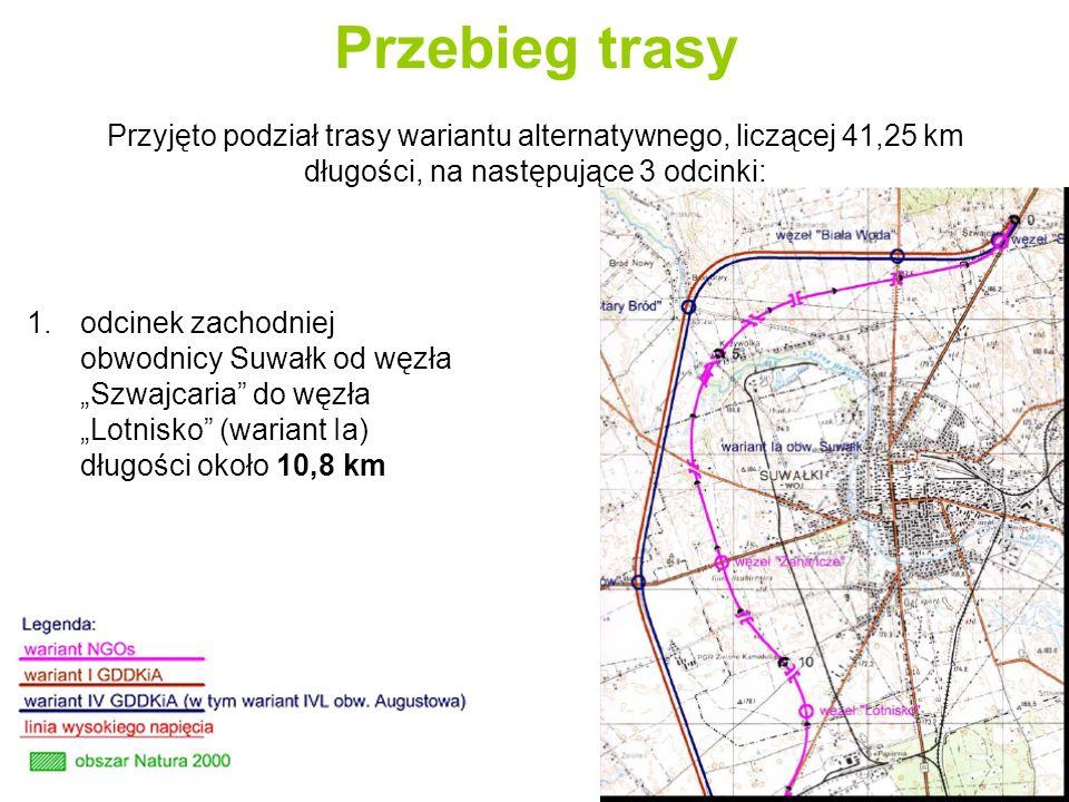 Przebieg trasy 2.odcinek od węzła Lotnisko do węzła Jaśki długości około 14,65 km
