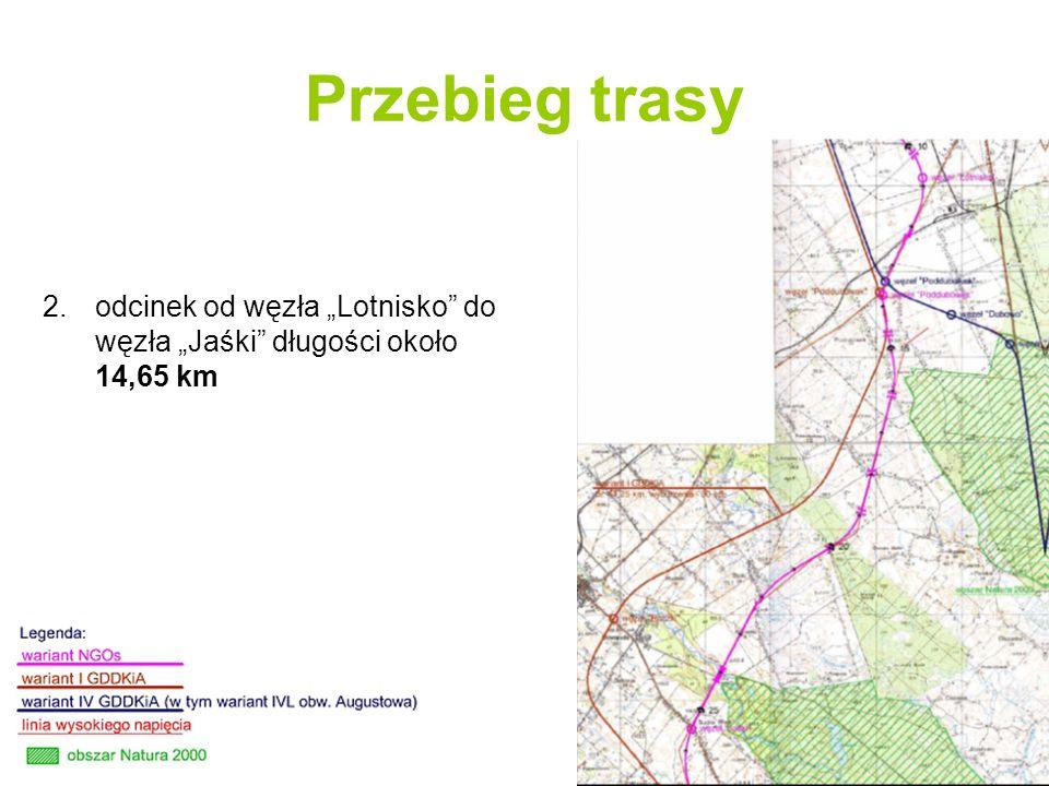Przebieg trasy 3.odcinek od węzła Jaśki do skrzyżowania z drogą krajową nr 16 w Augustowie długości około 15,8 km