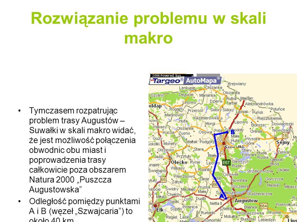 Trasa Augustów – Suwałki w wersji proponowanej przez GDDKiA o/Białystok Budowa całej trasy w wersji GDDKiA o/Białystok została podzielona na 3 etapy: - obwodnica Augustowa – 17 km - obwodnica Suwałk – 17 km - trasa łącząca obwodnice – 8 km Trasa w dalszym ciągu przecina obszar Natura 2000 Puszcza Augustowska Przewidywane czasy realizacji: - obwodnica Augustowa – do 2011 r.