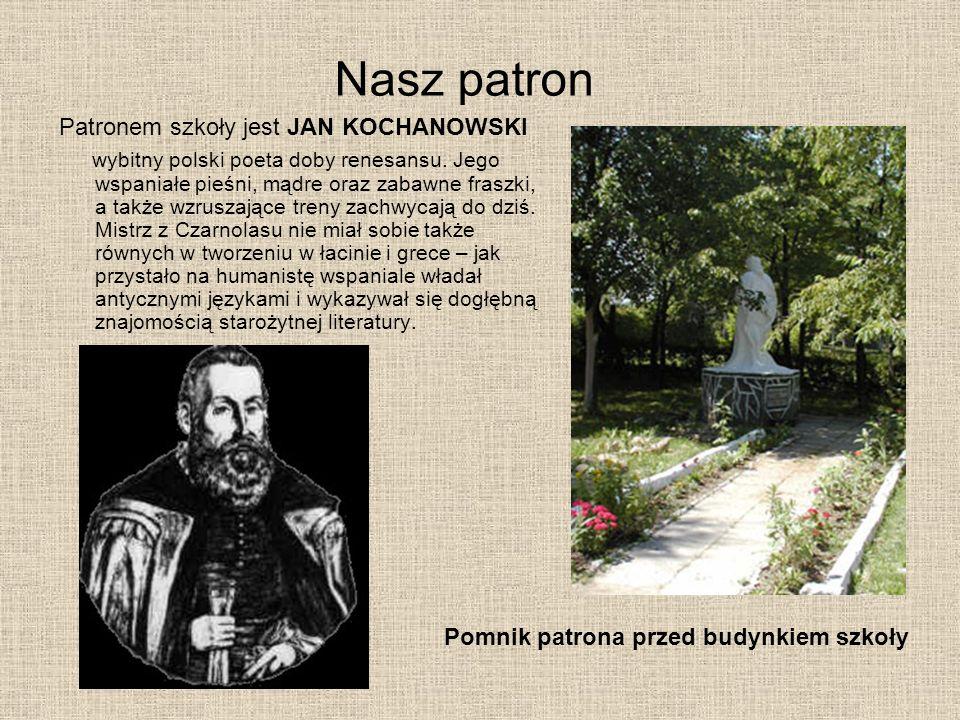 Nasz patron Patronem szkoły jest JAN KOCHANOWSKI wybitny polski poeta doby renesansu. Jego wspaniałe pieśni, mądre oraz zabawne fraszki, a także wzrus