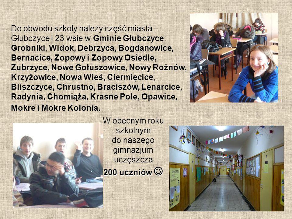 Do obwodu szkoły należy część miasta Głubczyce i 23 wsie w Gminie Głubczyce: Grobniki, Widok, Debrzyca, Bogdanowice, Bernacice, Zopowy i Zopowy Osiedl