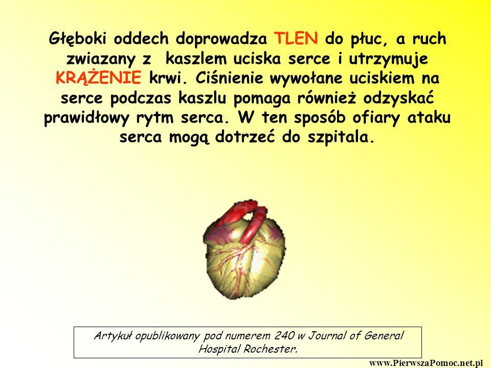 Głęboki oddech doprowadza TLEN do płuc, a ruch zwiazany z kaszlem uciska serce i utrzymuje KRĄŻENIE krwi. Ciśnienie wywołane uciskiem na serce podczas