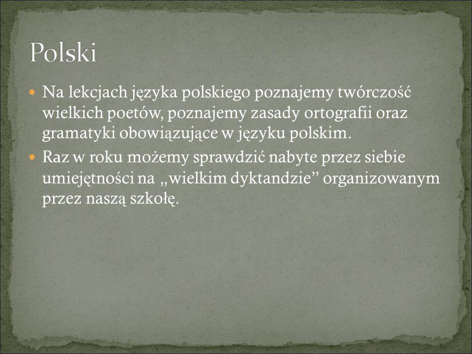 Na lekcjach j ę zyka polskiego poznajemy twórczo ść wielkich poetów, poznajemy zasady ortografii oraz gramatyki obowi ą zuj ą ce w j ę zyku polskim.