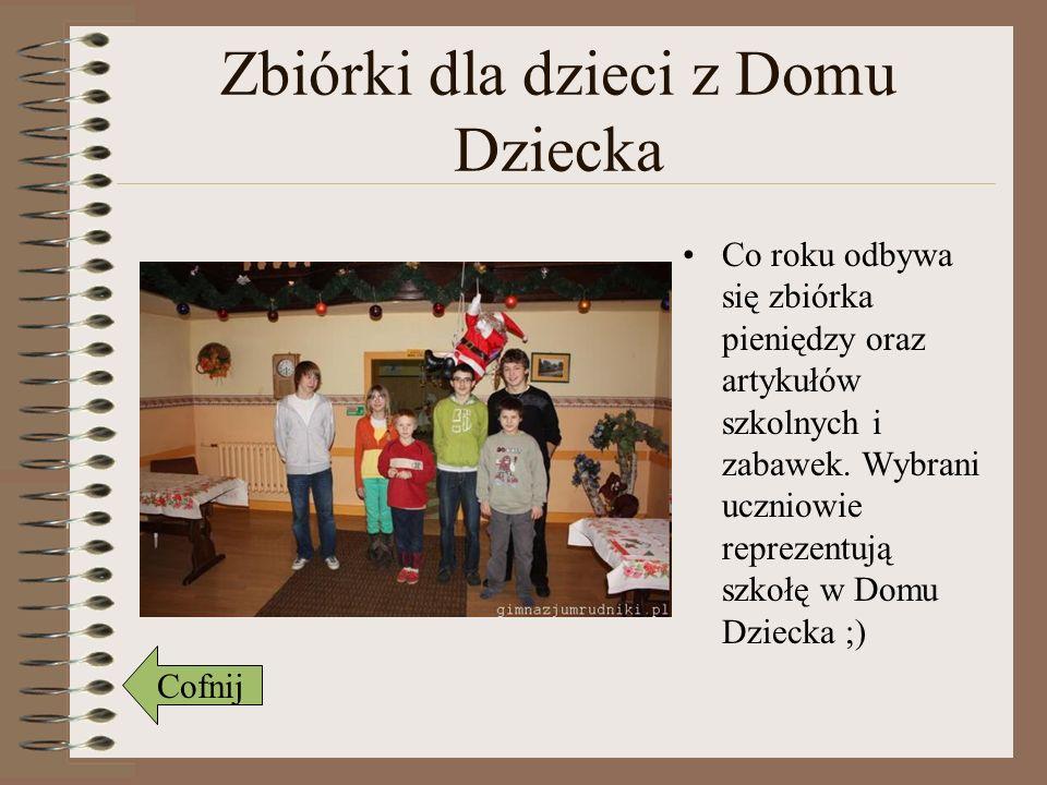 Zbiórki dla dzieci z Domu Dziecka Co roku odbywa się zbiórka pieniędzy oraz artykułów szkolnych i zabawek. Wybrani uczniowie reprezentują szkołę w Dom