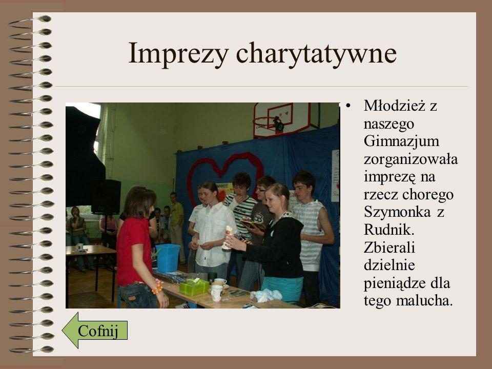 Imprezy charytatywne Młodzież z naszego Gimnazjum zorganizowała imprezę na rzecz chorego Szymonka z Rudnik. Zbierali dzielnie pieniądze dla tego maluc