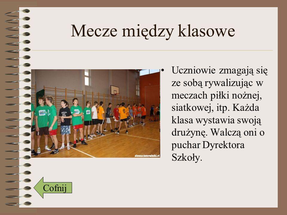 Mecze z nauczycielami Młodzież konkuruje z nauczycielami o mistrzostwo szkoły.
