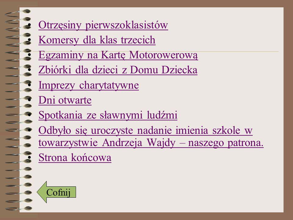 Nadanie imienia Dnia 10 listopada 2009 roku odbyło się uroczyste nadanie naszej szkole imienia Andrzeja Wajdy.