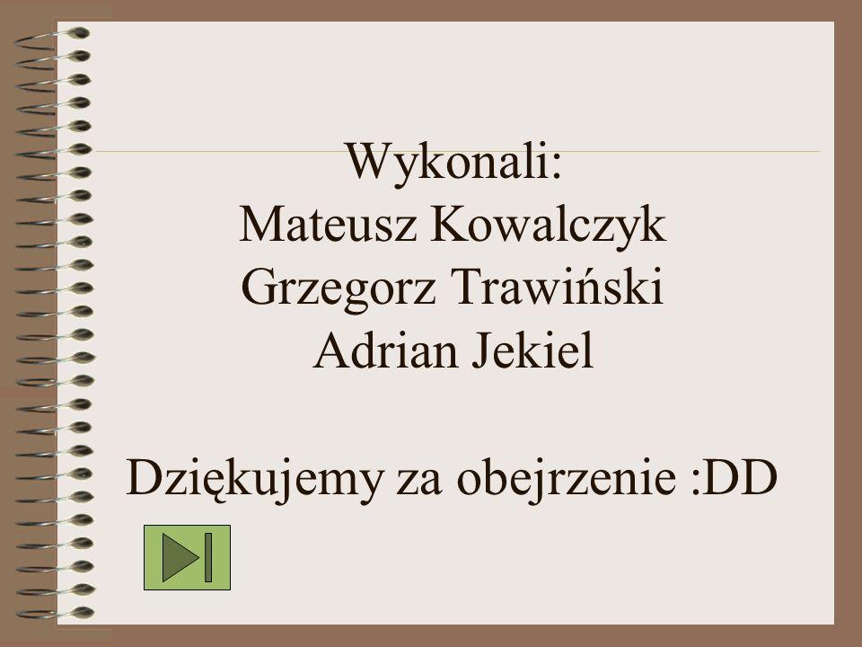 Wykonali: Mateusz Kowalczyk Grzegorz Trawiński Adrian Jekiel Dziękujemy za obejrzenie :DD