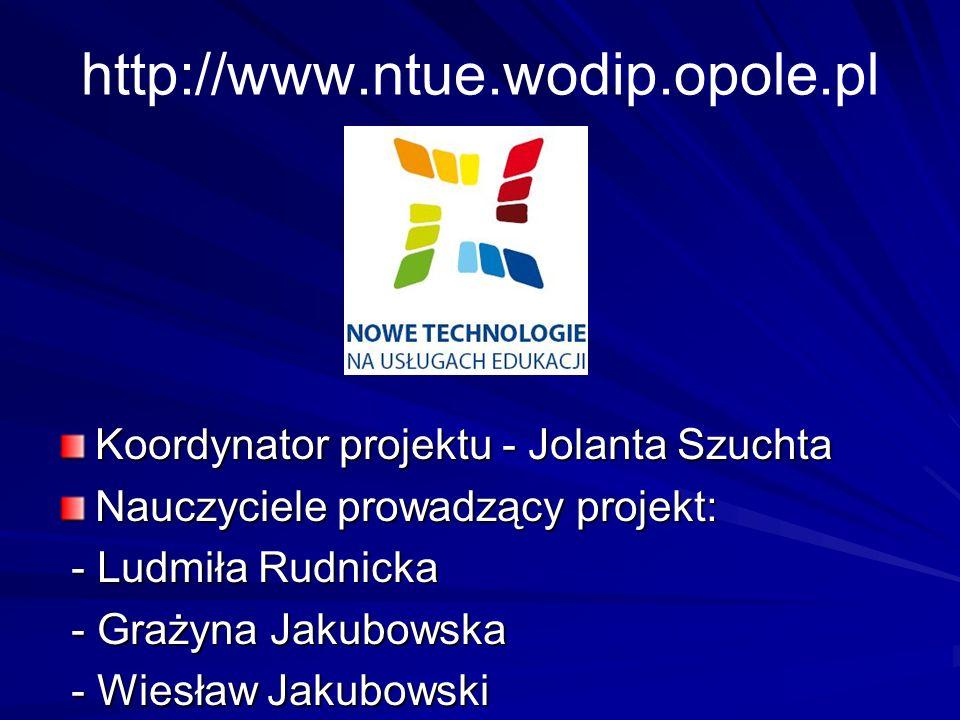 Koordynator projektu - Jolanta Szuchta Nauczyciele prowadzący projekt: - Ludmiła Rudnicka - Ludmiła Rudnicka - Grażyna Jakubowska - Grażyna Jakubowska