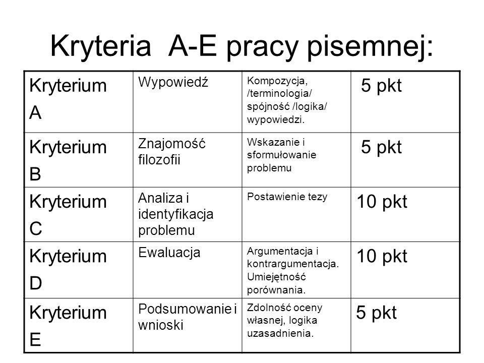 Kryteria A-E pracy pisemnej: Kryterium A Wypowiedź Kompozycja, /terminologia/ spójność /logika/ wypowiedzi.