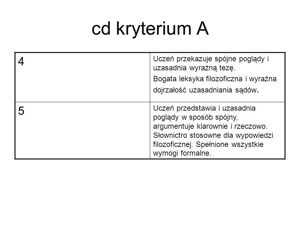 cd kryterium A 4 Uczeń przekazuje spójne poglądy i uzasadnia wyrażną tezę.