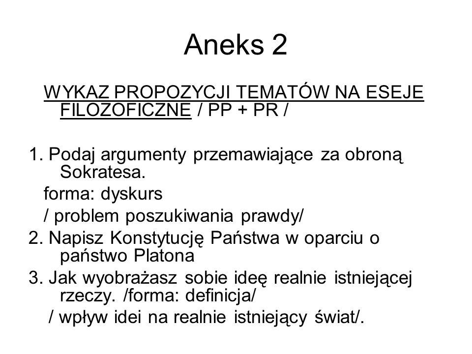 Aneks 2 WYKAZ PROPOZYCJI TEMATÓW NA ESEJE FILOZOFICZNE / PP + PR / 1.
