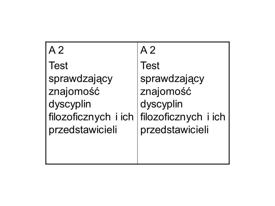 A 2 Test sprawdzający znajomość dyscyplin filozoficznych i ich przedstawicieli A 2 Test sprawdzający znajomość dyscyplin filozoficznych i ich przedstawicieli