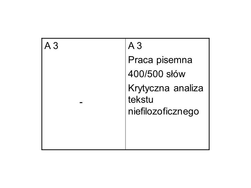 A 3 - A 3 Praca pisemna 400/500 słów Krytyczna analiza tekstu niefilozoficznego