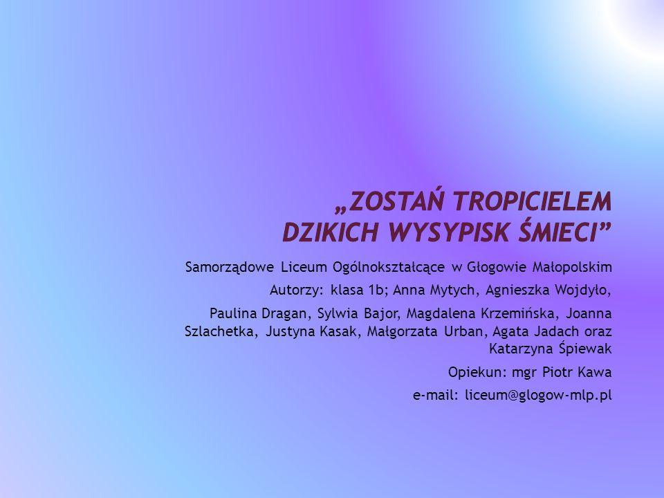 Samorządowe Liceum Ogólnokształcące w Głogowie Małopolskim Autorzy: klasa 1b; Anna Mytych, Agnieszka Wojdyło, Paulina Dragan, Sylwia Bajor, Magdalena
