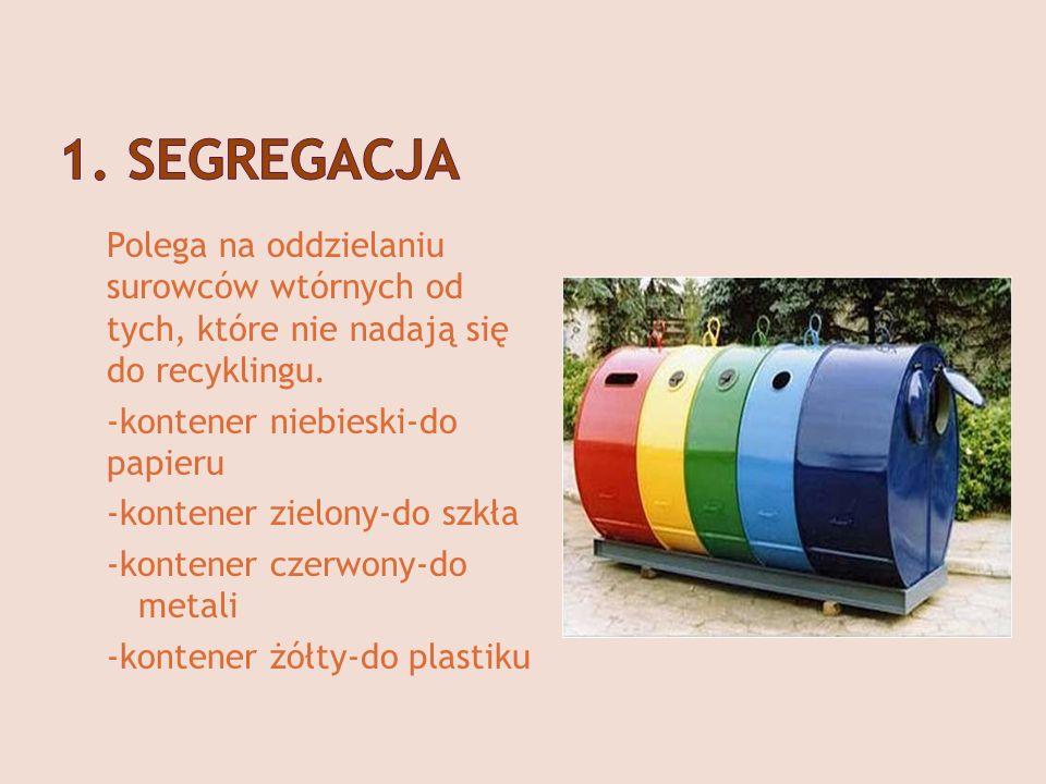 Polega na oddzielaniu surowców wtórnych od tych, które nie nadają się do recyklingu. -kontener niebieski-do papieru -kontener zielony-do szkła -konten