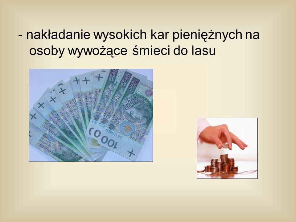 - nakładanie wysokich kar pieniężnych na osoby wywożące śmieci do lasu