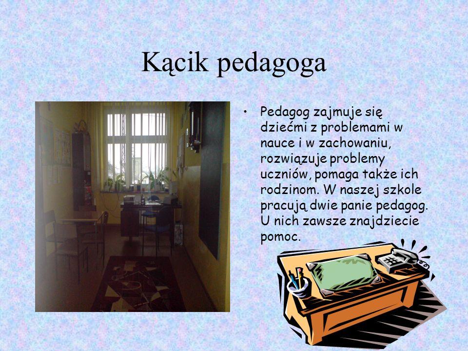 Kącik pedagoga Pedagog zajmuje się dziećmi z problemami w nauce i w zachowaniu, rozwiązuje problemy uczniów, pomaga także ich rodzinom.