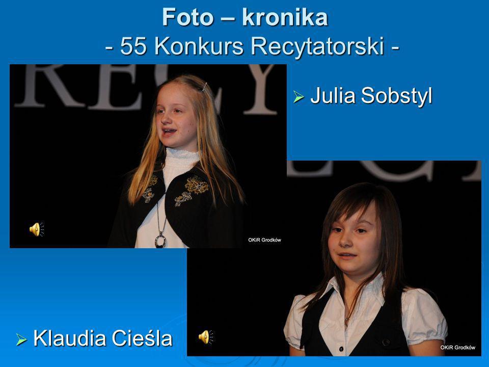 Foto – kronika - 55 Konkurs Recytatorski - Klaudia Cieśla Klaudia Cieśla Julia Sobstyl Julia Sobstyl
