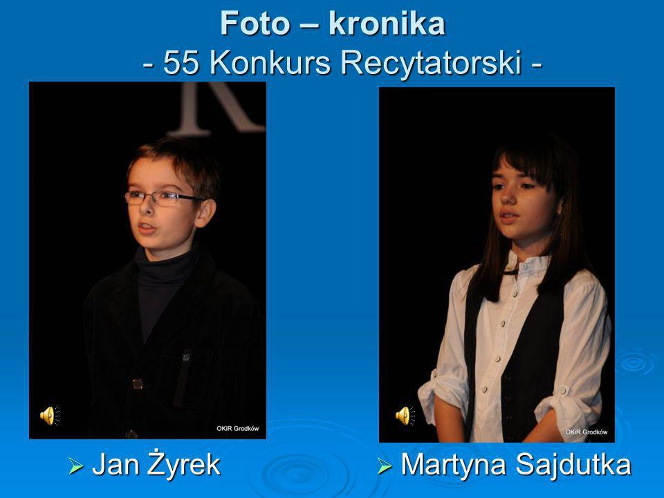 Foto – kronika - 55 Konkurs Recytatorski - Jan Żyrek Jan Żyrek Martyna Sajdutka Martyna Sajdutka