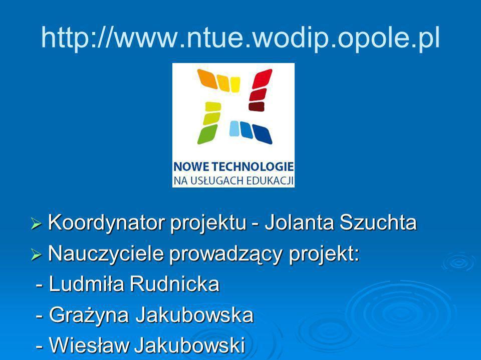 Koordynator projektu - Jolanta Szuchta Koordynator projektu - Jolanta Szuchta Nauczyciele prowadzący projekt: Nauczyciele prowadzący projekt: - Ludmił