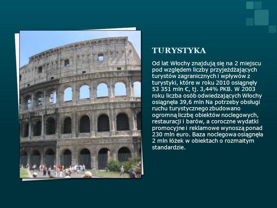 TURYSTYKA Od lat Włochy znajdują się na 2 miejscu pod względem liczby przyjeżdżających turystów zagranicznych i wpływów z turystyki, które w roku 2010
