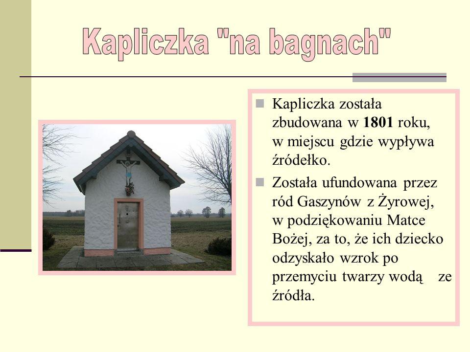 Kapliczka została zbudowana w 1801 roku, w miejscu gdzie wypływa źródełko.