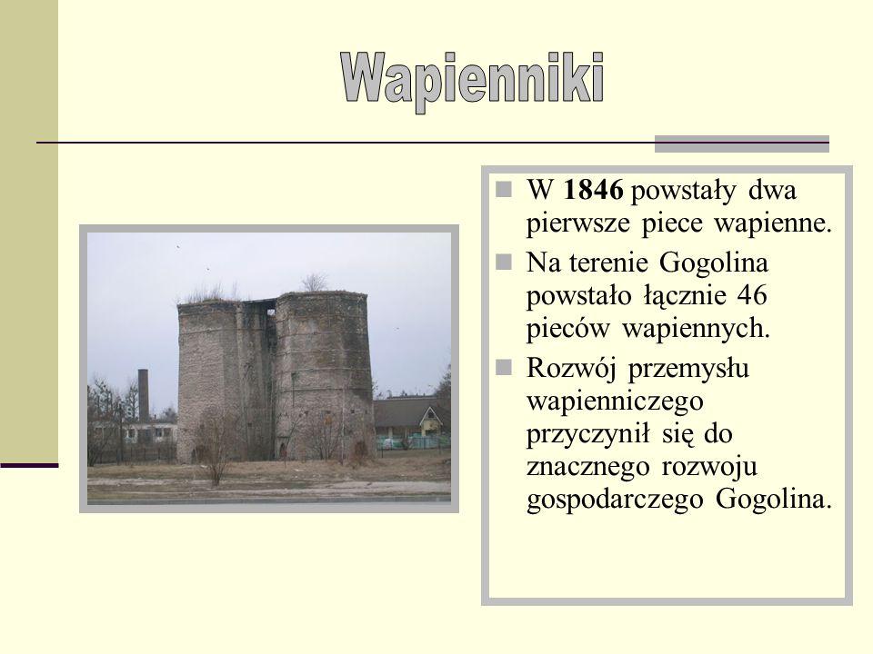 W 1846 powstały dwa pierwsze piece wapienne.