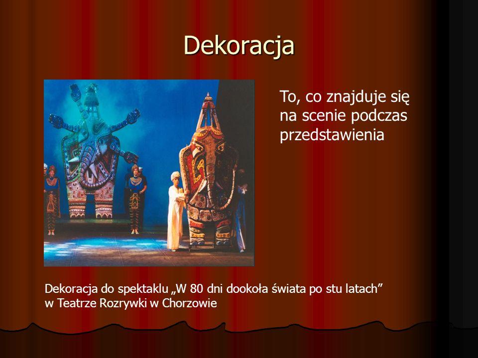 Dekoracja Dekoracja do spektaklu W 80 dni dookoła świata po stu latach w Teatrze Rozrywki w Chorzowie To, co znajduje się na scenie podczas przedstawi