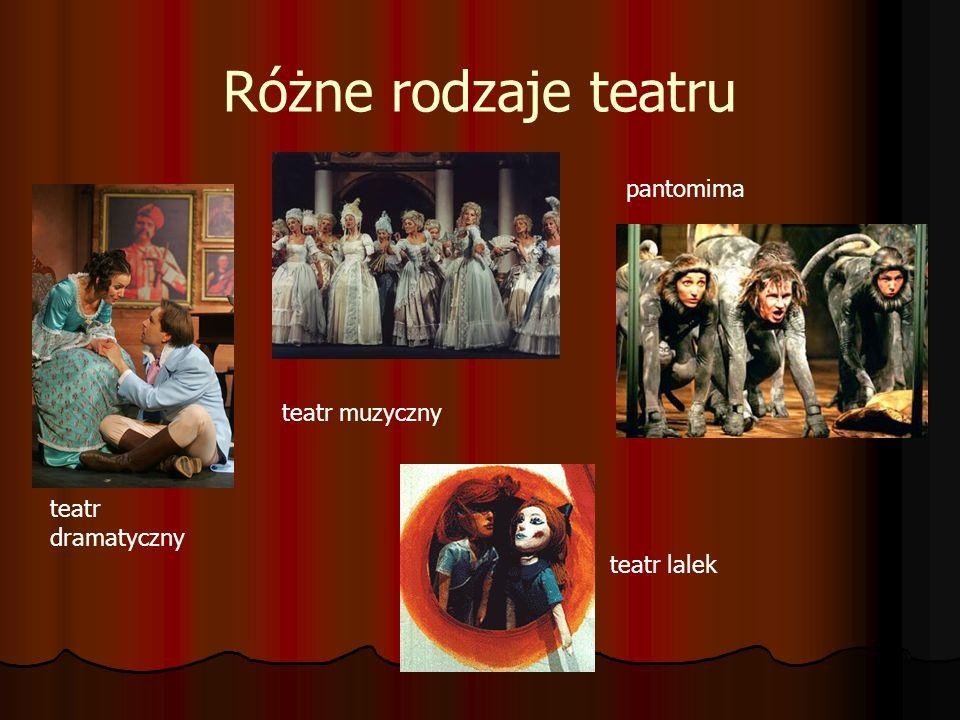 Różne rodzaje teatru teatr dramatyczny teatr muzyczny pantomima teatr lalek