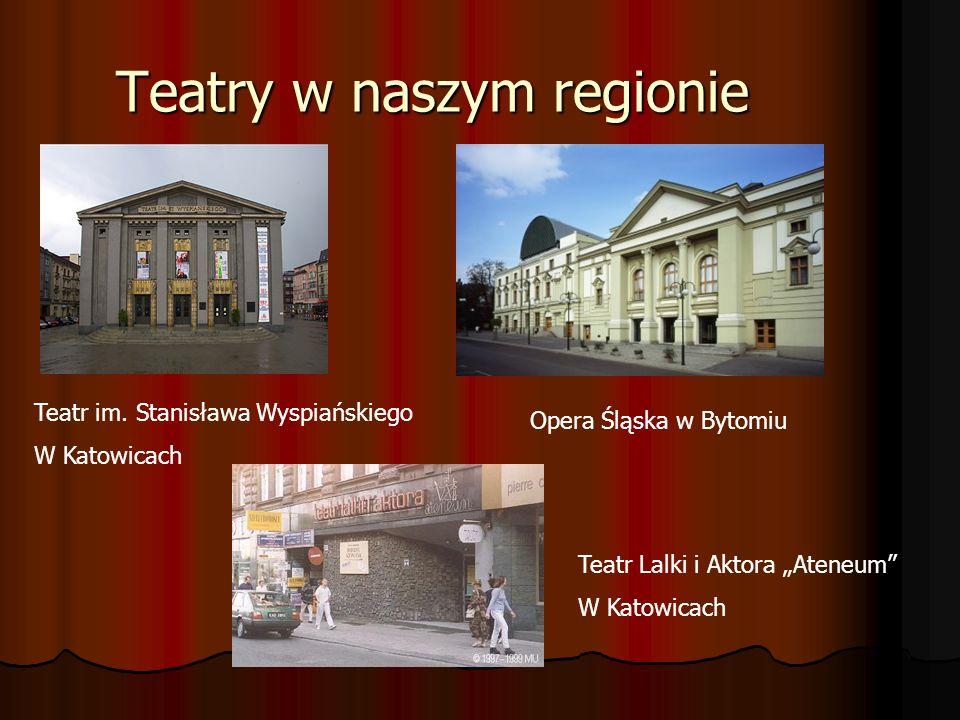 Teatry w naszym regionie Teatr im. Stanisława Wyspiańskiego W Katowicach Teatr Lalki i Aktora Ateneum W Katowicach Opera Śląska w Bytomiu
