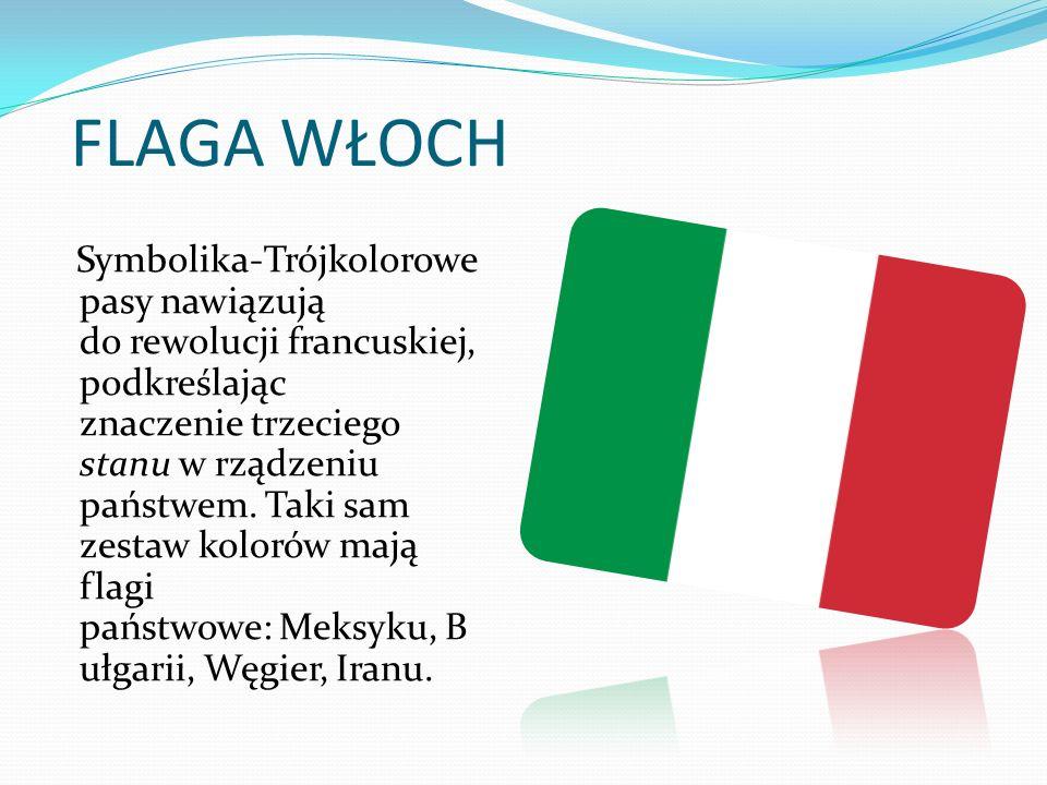 HISTORIA FLAGI Po raz pierwszy trójkolorowa flaga pojawiła się w 1795 roku w Bolonii podczas zamieszek studenckich.