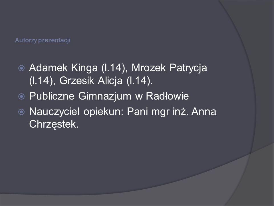 Autorzy prezentacji Adamek Kinga (l.14), Mrozek Patrycja (l.14), Grzesik Alicja (l.14). Publiczne Gimnazjum w Radłowie Nauczyciel opiekun: Pani mgr in