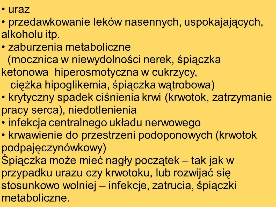 uraz przedawkowanie leków nasennych, uspokajających, alkoholu itp. zaburzenia metaboliczne (mocznica w niewydolności nerek, śpiączka ketonowa hiperosm