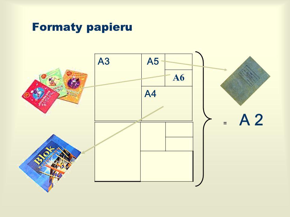 Formaty papieru A3A5 A6 A4 + = A 2