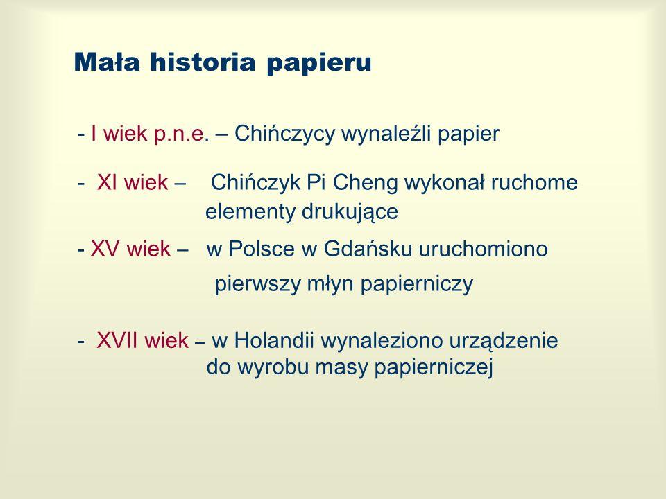 Mała historia papieru - I wiek p.n.e. – Chińczycy wynaleźli papier - XI wiek – Chińczyk Pi Cheng wykonał ruchome elementy drukujące - XV wiek – w Pols