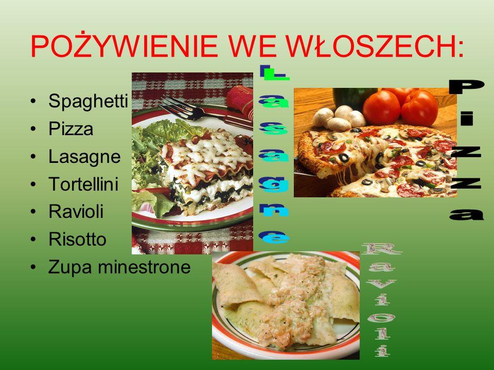 POŻYWIENIE WE WŁOSZECH: Spaghetti Pizza Lasagne Tortellini Ravioli Risotto Zupa minestrone