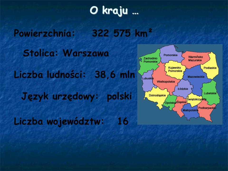 O kraju … Powierzchnia: 322 575 km² Stolica: Warszawa Liczba ludności: 38,6 mln Język urzędowy: polski Liczba województw: 16