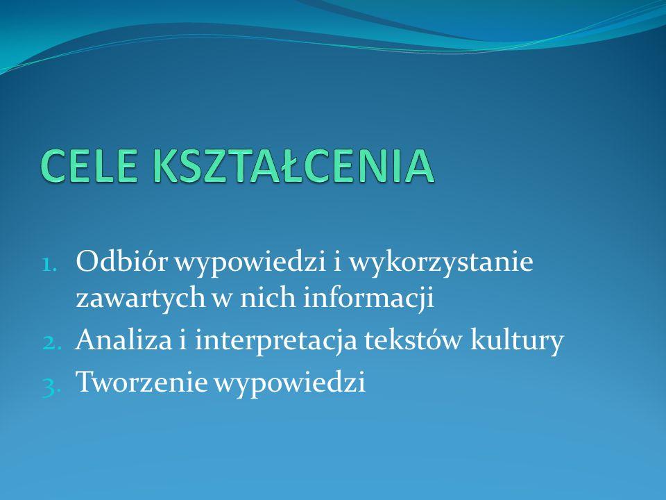 1. Odbiór wypowiedzi i wykorzystanie zawartych w nich informacji 2. Analiza i interpretacja tekstów kultury 3. Tworzenie wypowiedzi