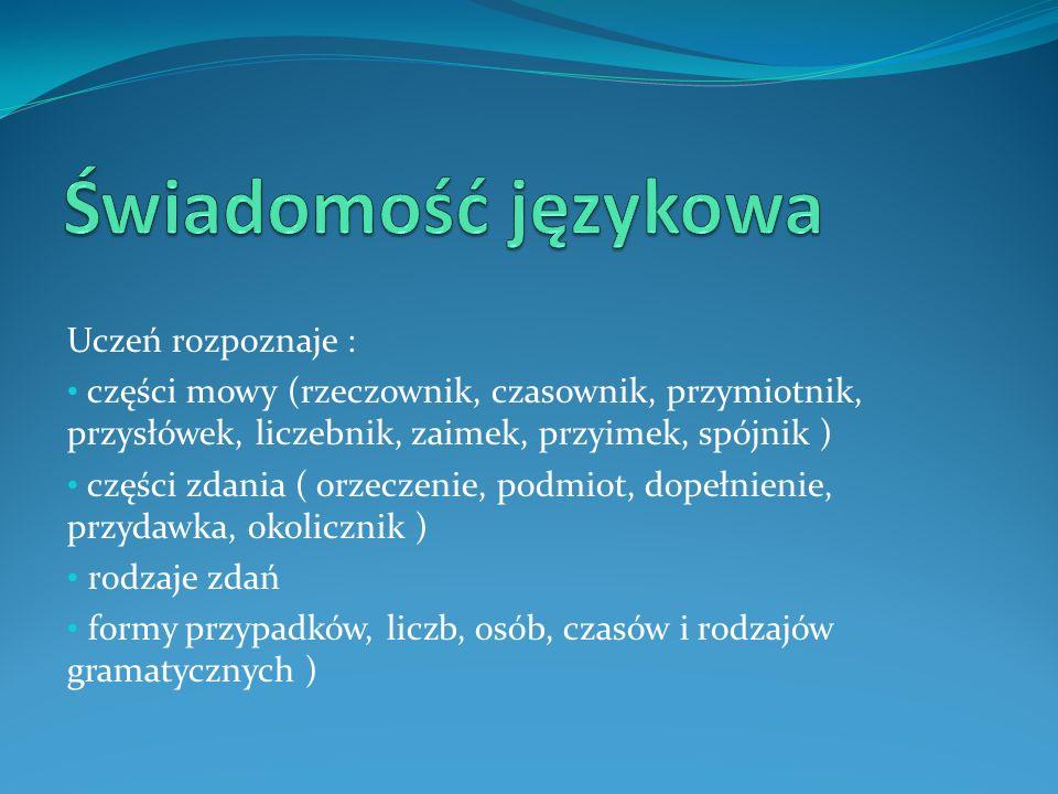 Uczeń rozpoznaje : części mowy (rzeczownik, czasownik, przymiotnik, przysłówek, liczebnik, zaimek, przyimek, spójnik ) części zdania ( orzeczenie, pod