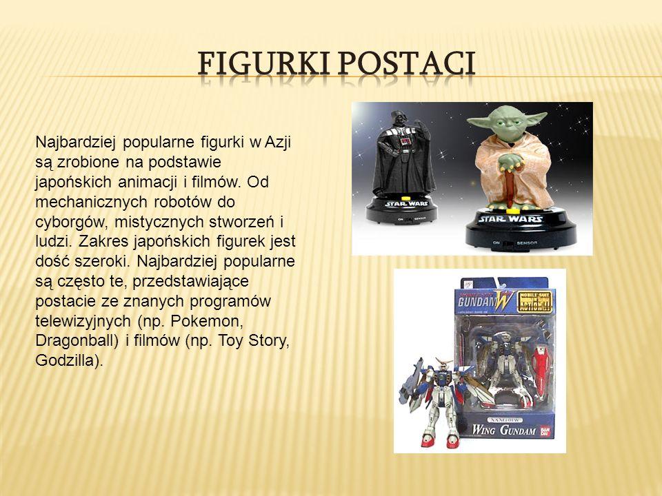 Najbardziej popularne figurki w Azji są zrobione na podstawie japońskich animacji i filmów. Od mechanicznych robotów do cyborgów, mistycznych stworzeń