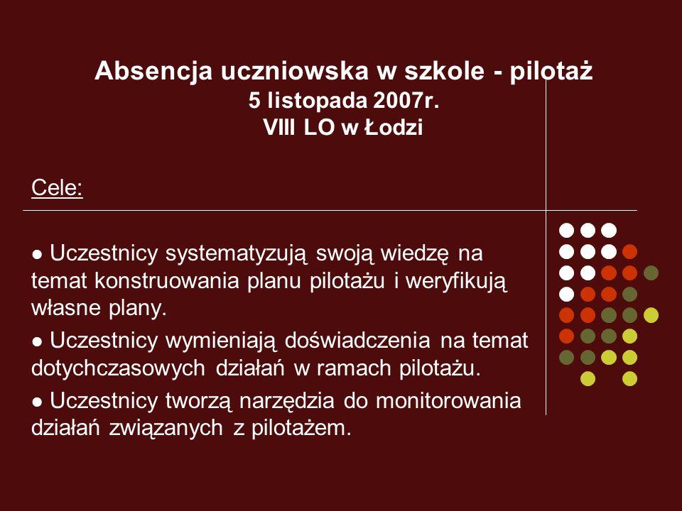 Absencja uczniowska w szkole - pilotaż 5 listopada 2007r. VIII LO w Łodzi Cele: Uczestnicy systematyzują swoją wiedzę na temat konstruowania planu pil
