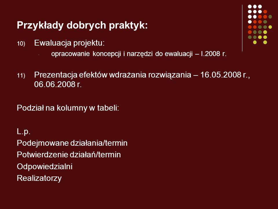Przykłady dobrych praktyk: 10) Ewaluacja projektu: - opracowanie koncepcji i narzędzi do ewaluacji – I.2008 r. 11) Prezentacja efektów wdrażania rozwi