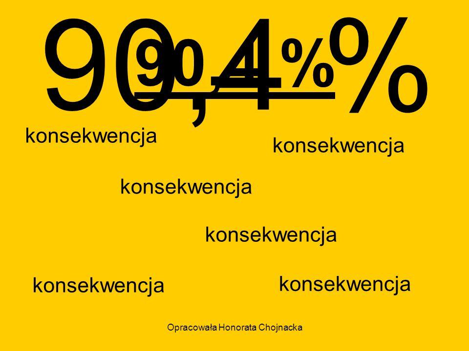 Opracowała Honorata Chojnacka 90,4 % konsekwencja 90,4 %