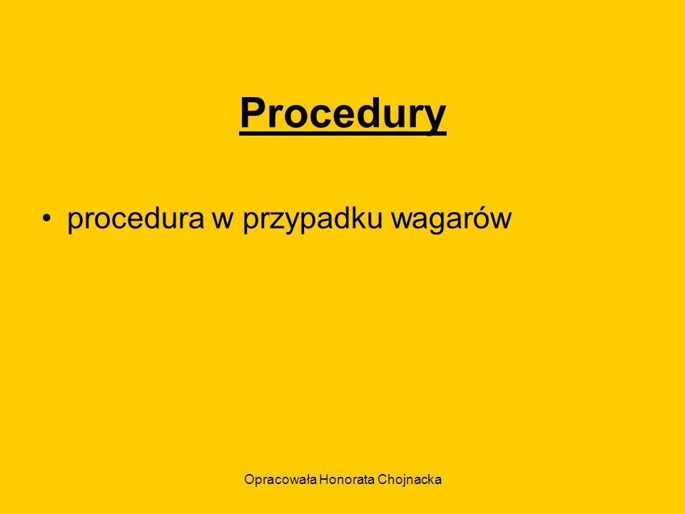 Opracowała Honorata Chojnacka Procedury procedura w przypadku wagarów