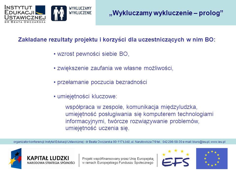 Projekt współfinansowany przez Unię Europejską w ramach Europejskiego Funduszu Społecznego organizator konferencji: Instytut Edukacji Ustawicznej - dr Beata Owczarska 90-117 Łódź, ul.