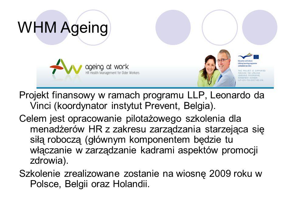 WHM Ageing Projekt finansowy w ramach programu LLP, Leonardo da Vinci (koordynator instytut Prevent, Belgia).